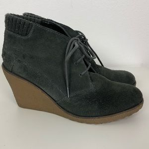 e37074f9b 🌸Lacoste Leren Gray Burnished Suede Wedge -8.5